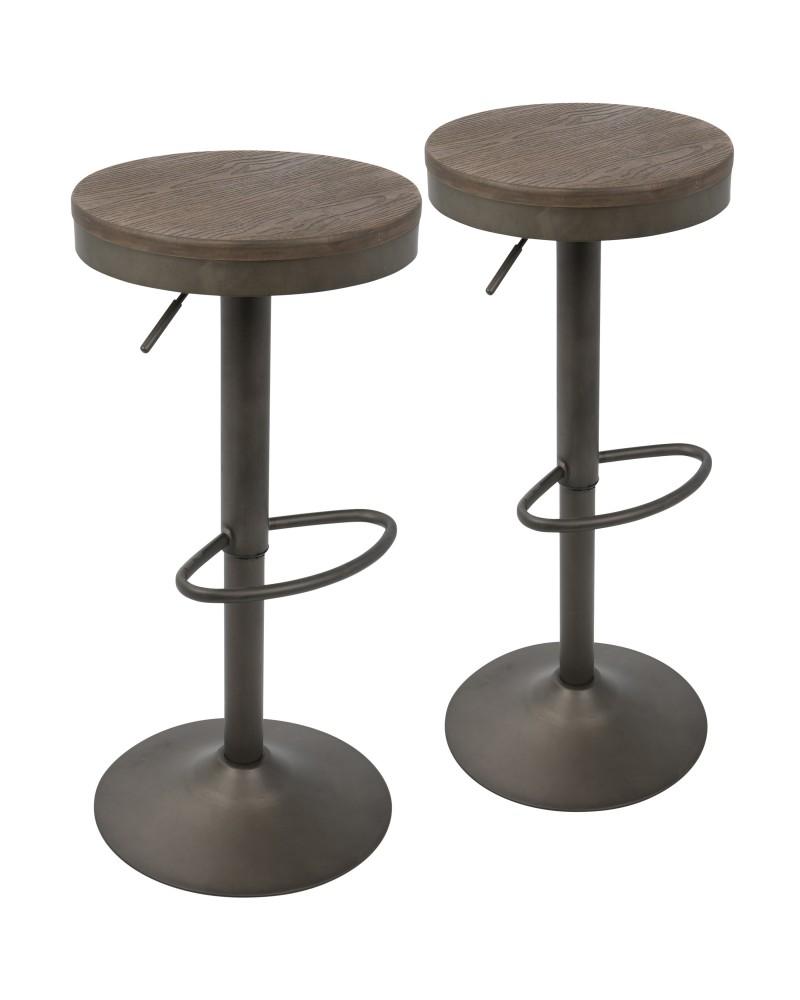 Dakota Industrial Adjustable Barstool in Antique and Brown - Set of 2