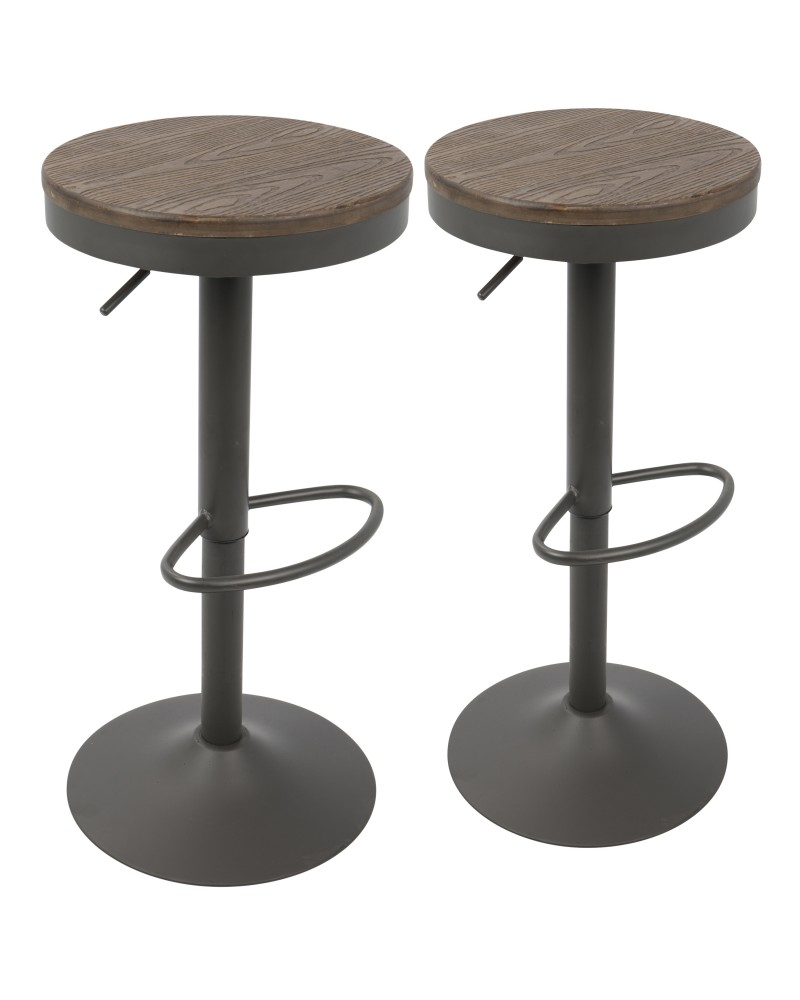 Dakota Industrial Adjustable Barstool in Brown and Grey - Set of 2