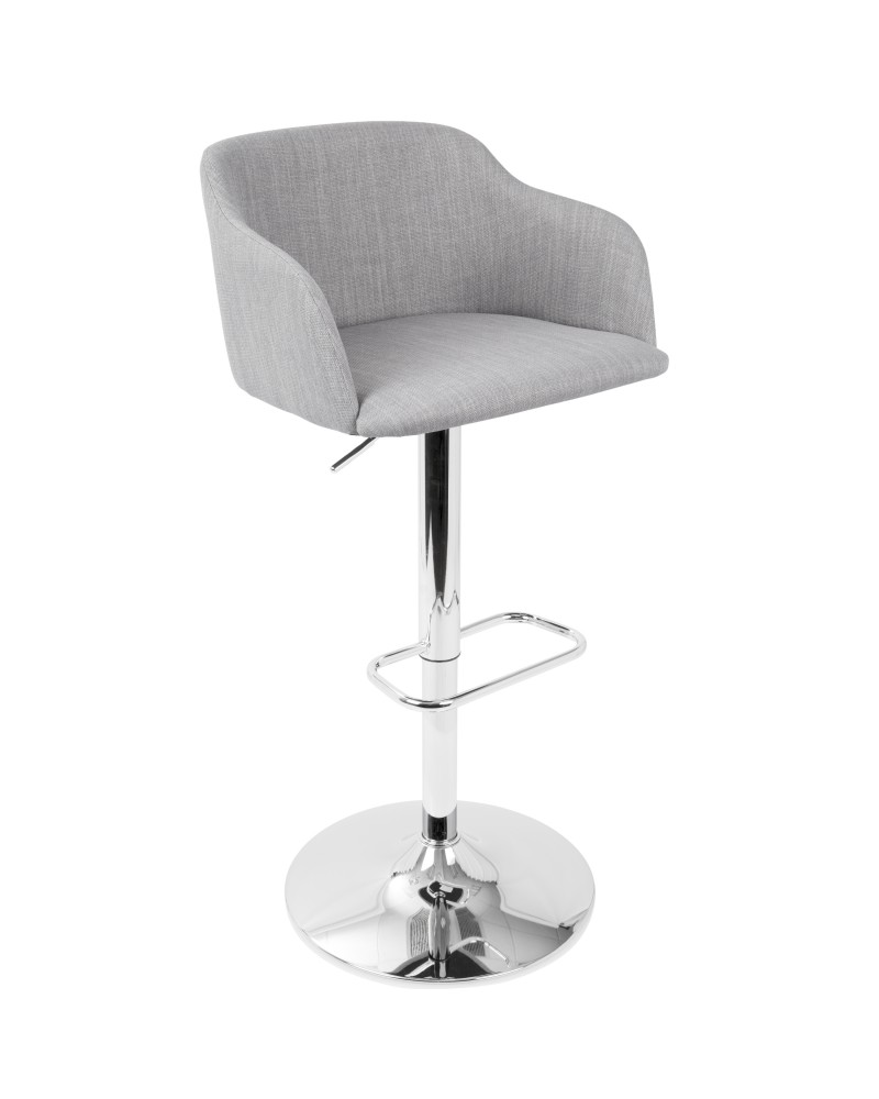 Daniella Contemporary Adjustable Barstool with Swivel in Light Grey