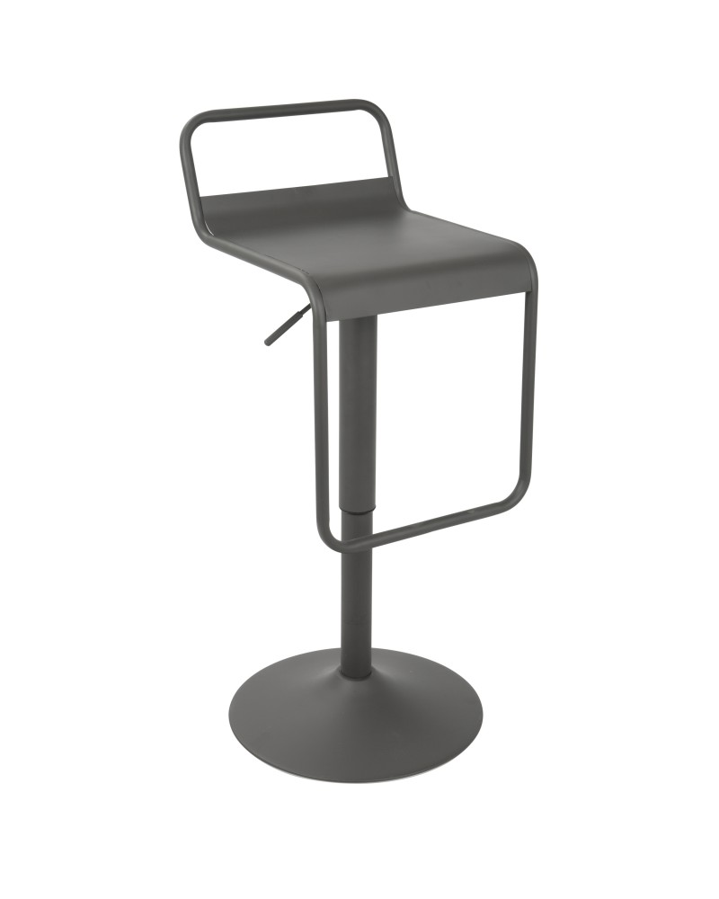 Emery Uptown Industrial Adjustable Barstool with Swivel in Matte Grey