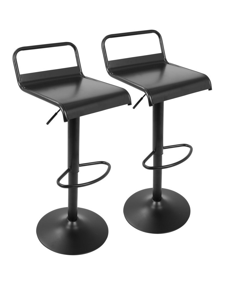Emery Industrial Adjustable Barstool with Swivel in Black - Set of 2