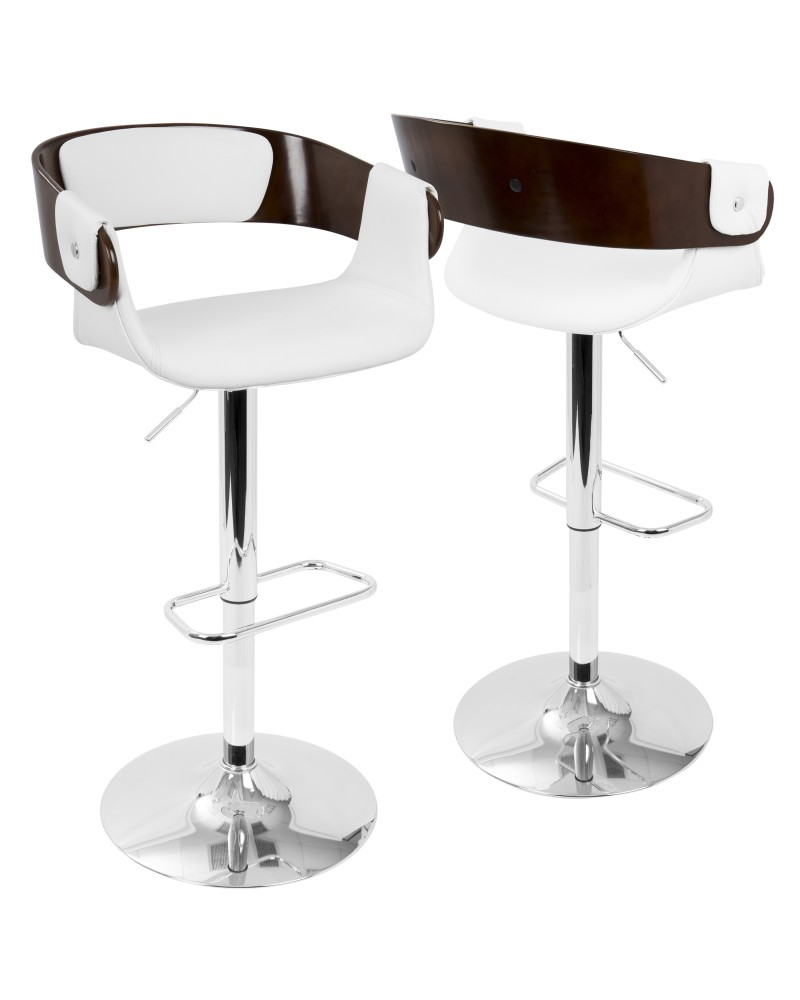 Envi Mid-Century Modern Adjustable Barstool in Cherry and White
