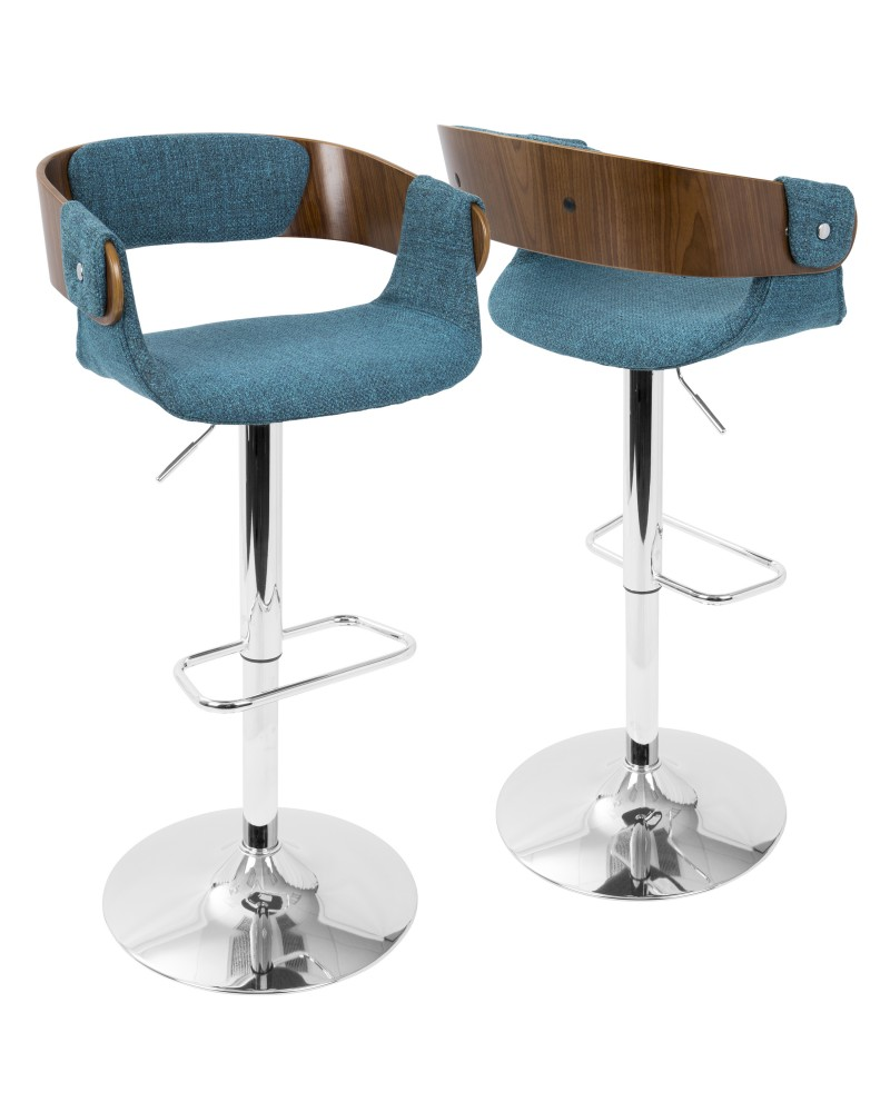 Envi Mid-Century Modern Adjustable Barstool in Walnut and Blue Teal