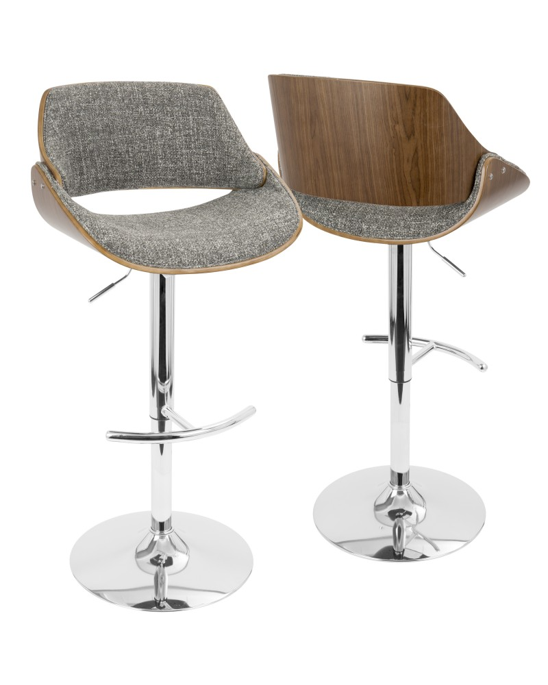 Fabrizzi Mid-Century Modern Adjustable Barstool with Swivel in Walnut and Grey