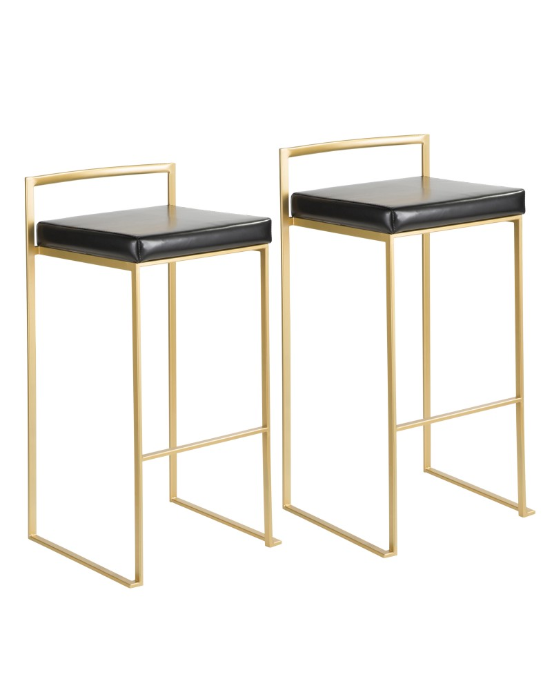 Fuji Contemporary-Glam Barstool in Gold with Black Faux Leather - Set of 2