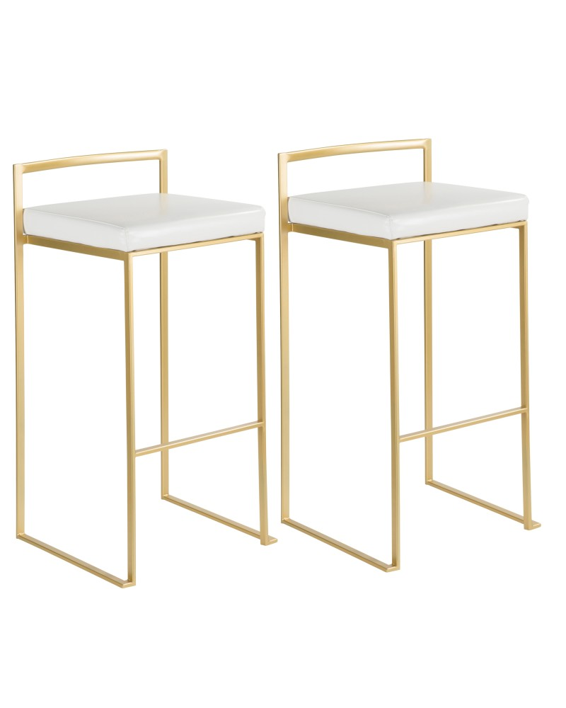 Fuji Contemporary-Glam Barstool in Gold with White Faux Leather - Set of 2