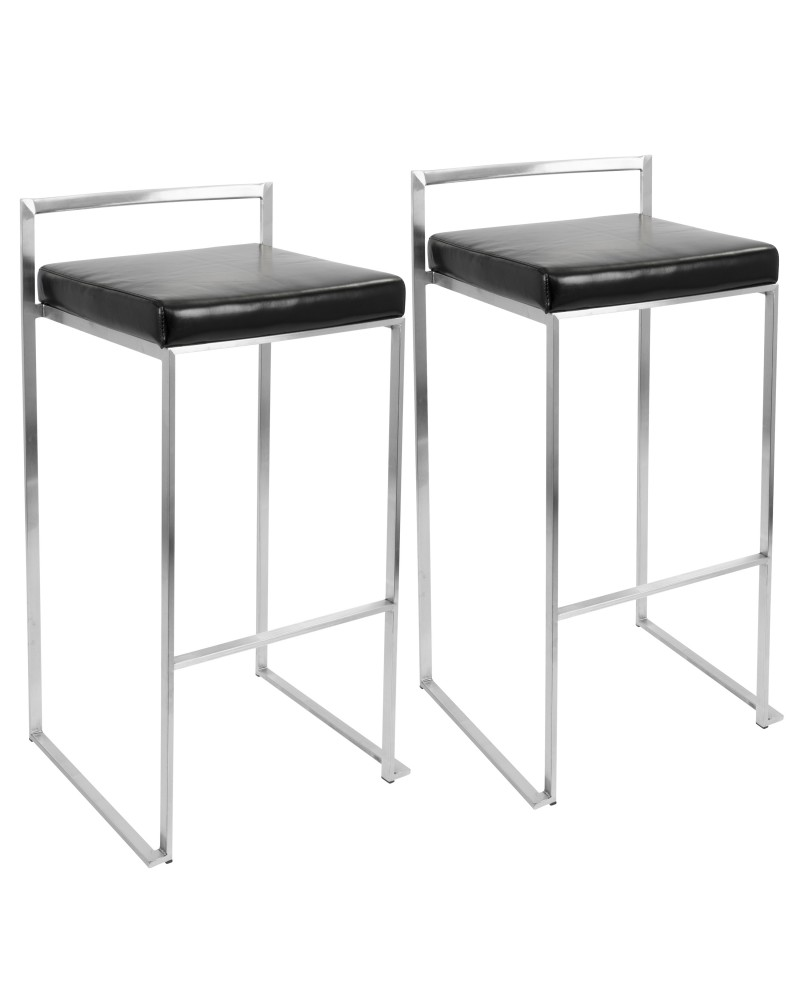 Fuji Contemporary Stackable Barstool with Black Faux Leather - Set of 2