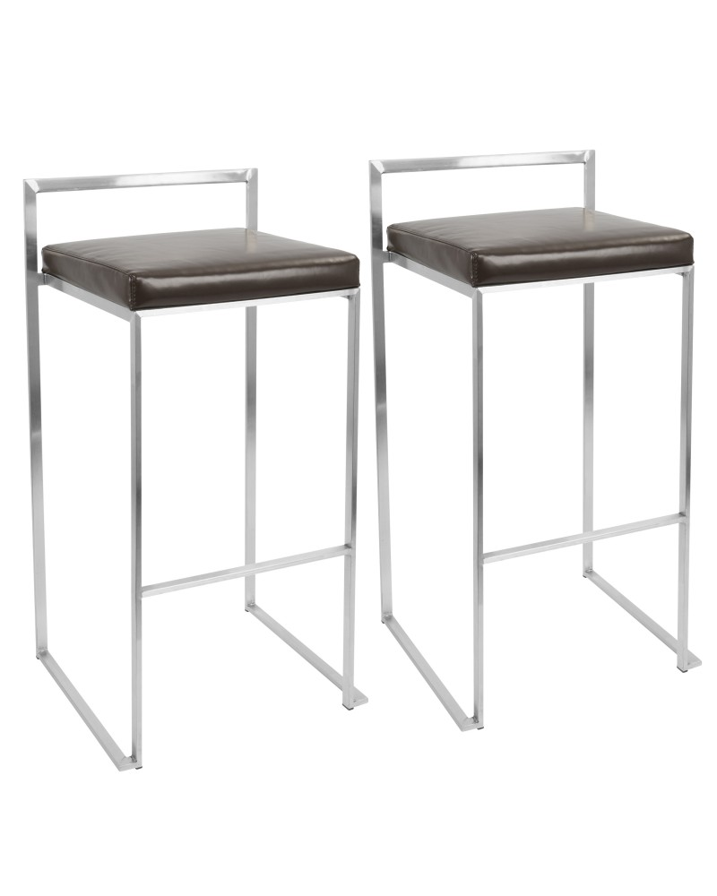 Fuji Contemporary Stackable Barstool with Brown Faux Leather - Set of 2