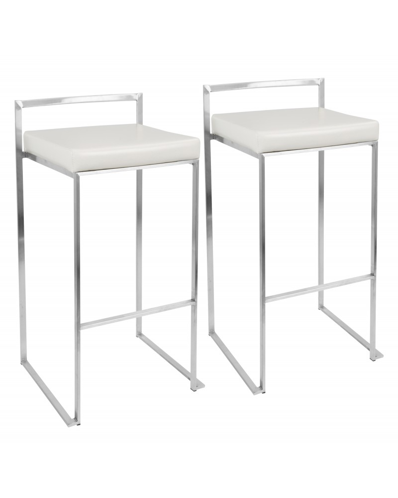 Fuji Contemporary Stackable Barstool with White Faux Leather - Set of 2