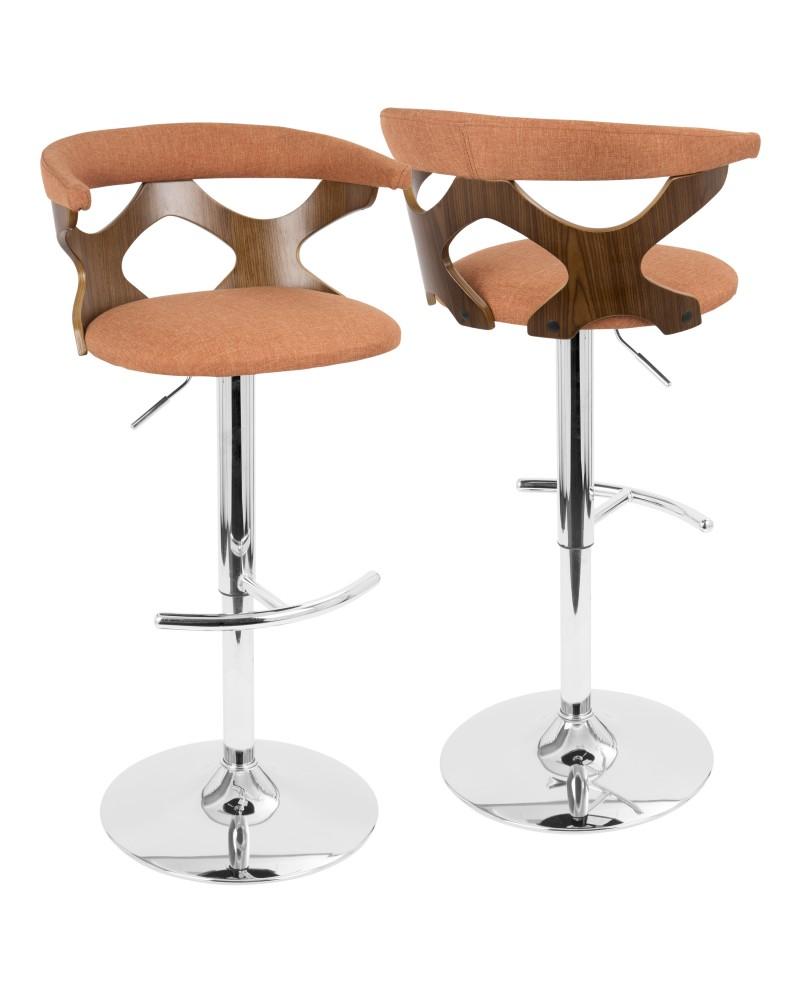 Gardenia Mid-Century Modern Adjustable Barstool with Swivel in Walnut and Orange