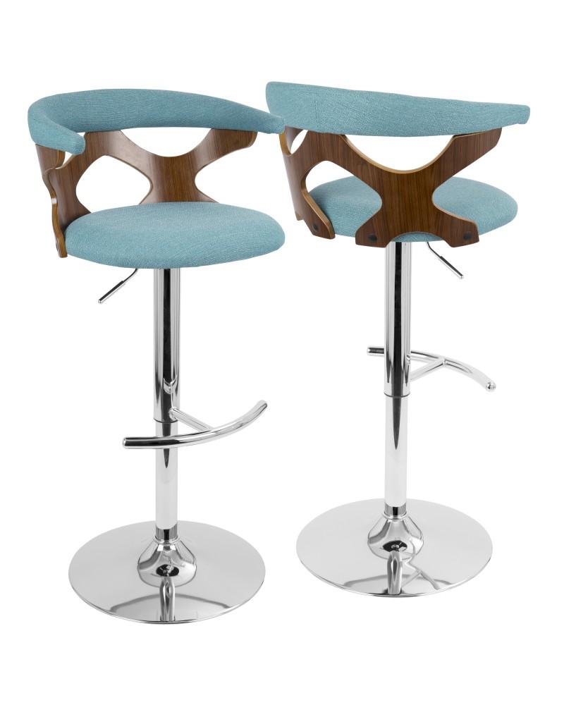 Gardenia Mid-Century Modern Adjustable Barstool with Swivel in Walnut and Teal
