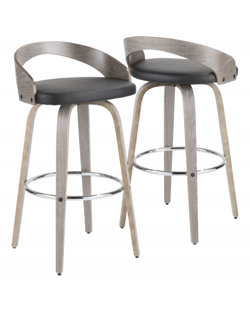 Grotto Mid-Century Modern Barstool with Light Grey Wood and Black Faux Leather