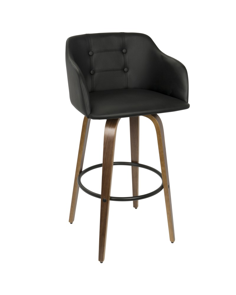 Bruno Mid-Century Modern Barstool with Swivel in Walnut and Black Faux Leather