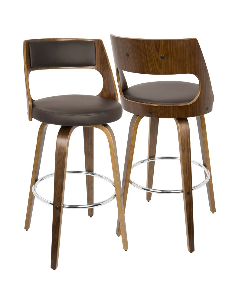 Cecina Mid-Century Modern Barstool with Swivel in Walnut and Brown Faux Leather