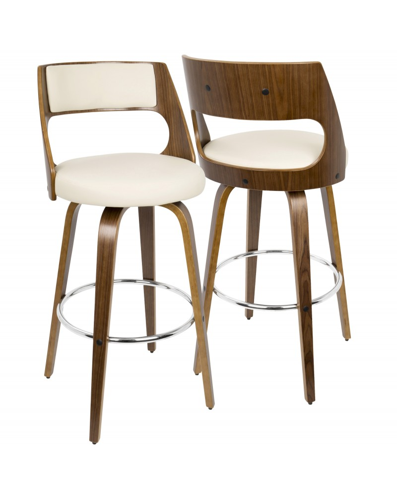 Cecina Mid-Century Modern Barstool with Swivel in Walnut and Cream Faux Leather