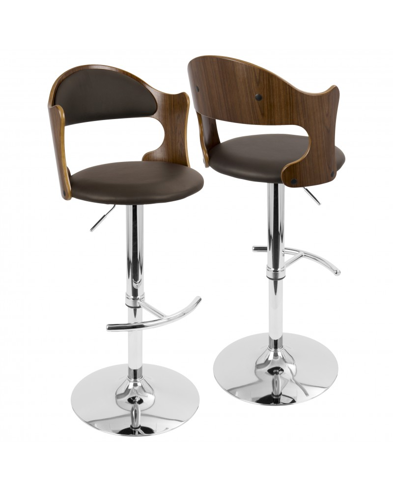 Cello Mid-Century Modern Adjustable Barstool with Swivel in Walnut and Brown Faux Leather