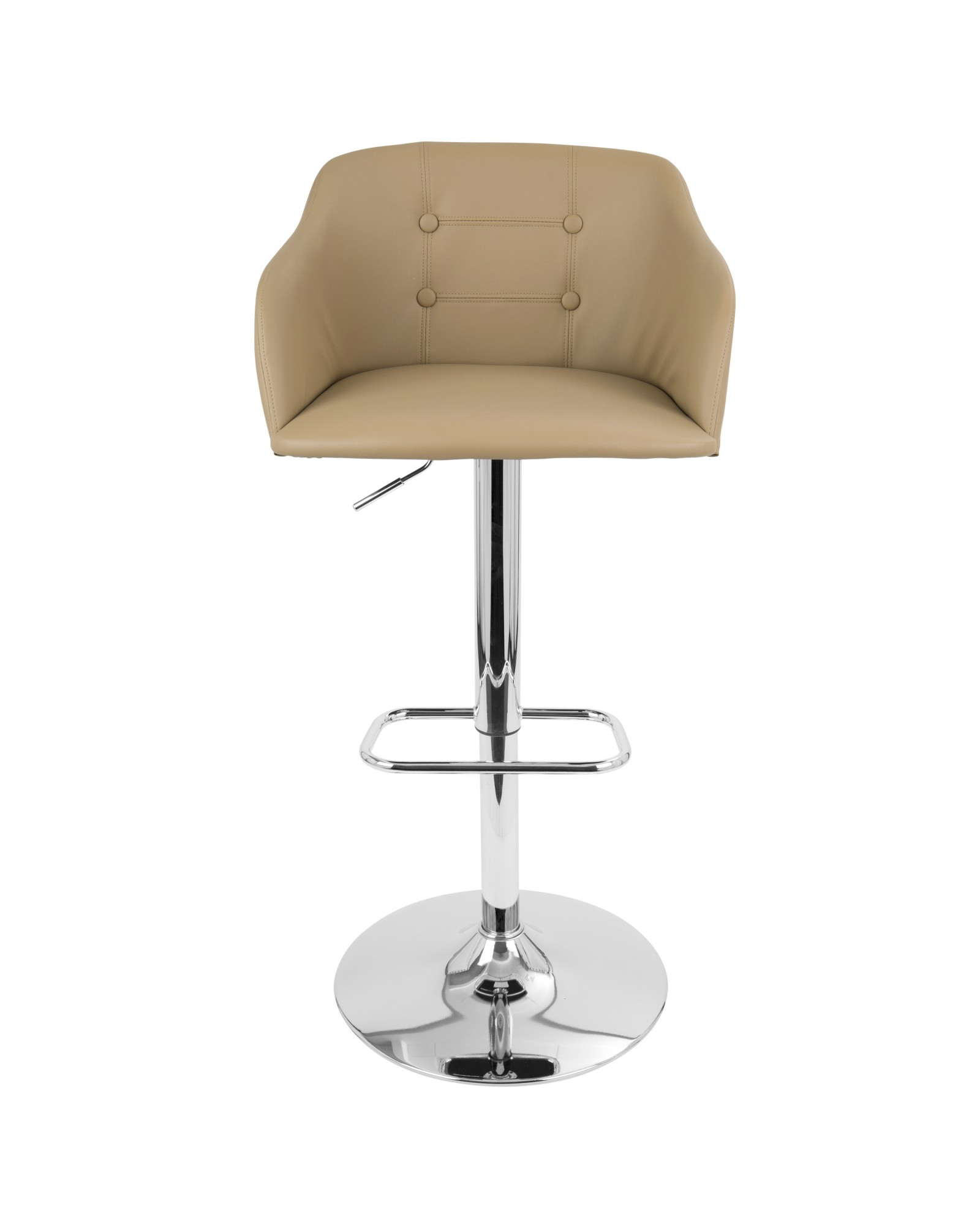 Campania Mid-Century Modern Adjustable Barstool with Swivel in Camel Faux Leather