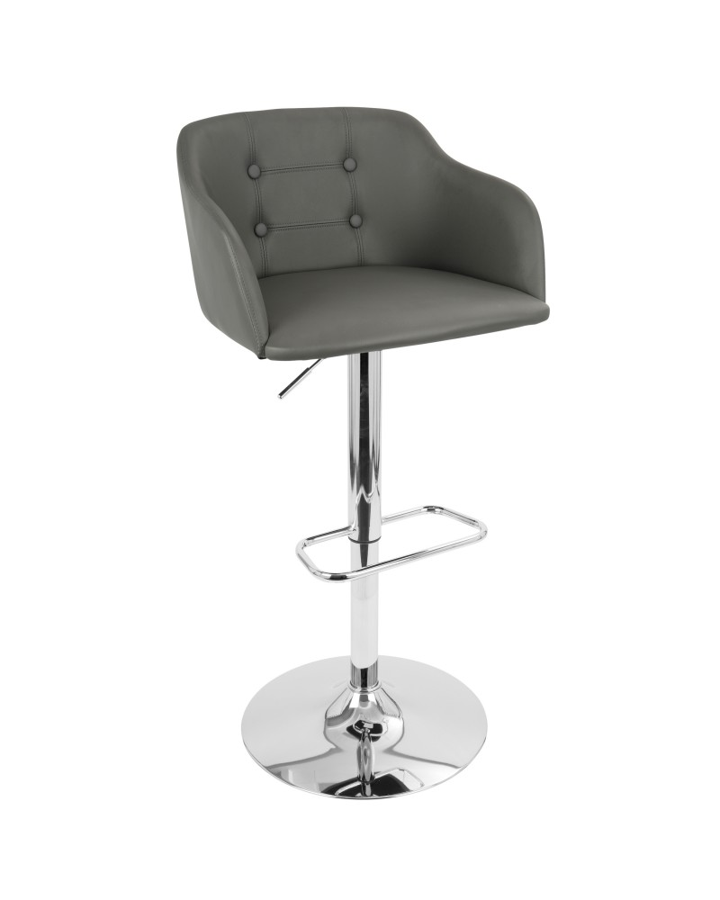 Campania Mid-Century Modern Adjustable Barstool with Swivel in Grey Faux Leather