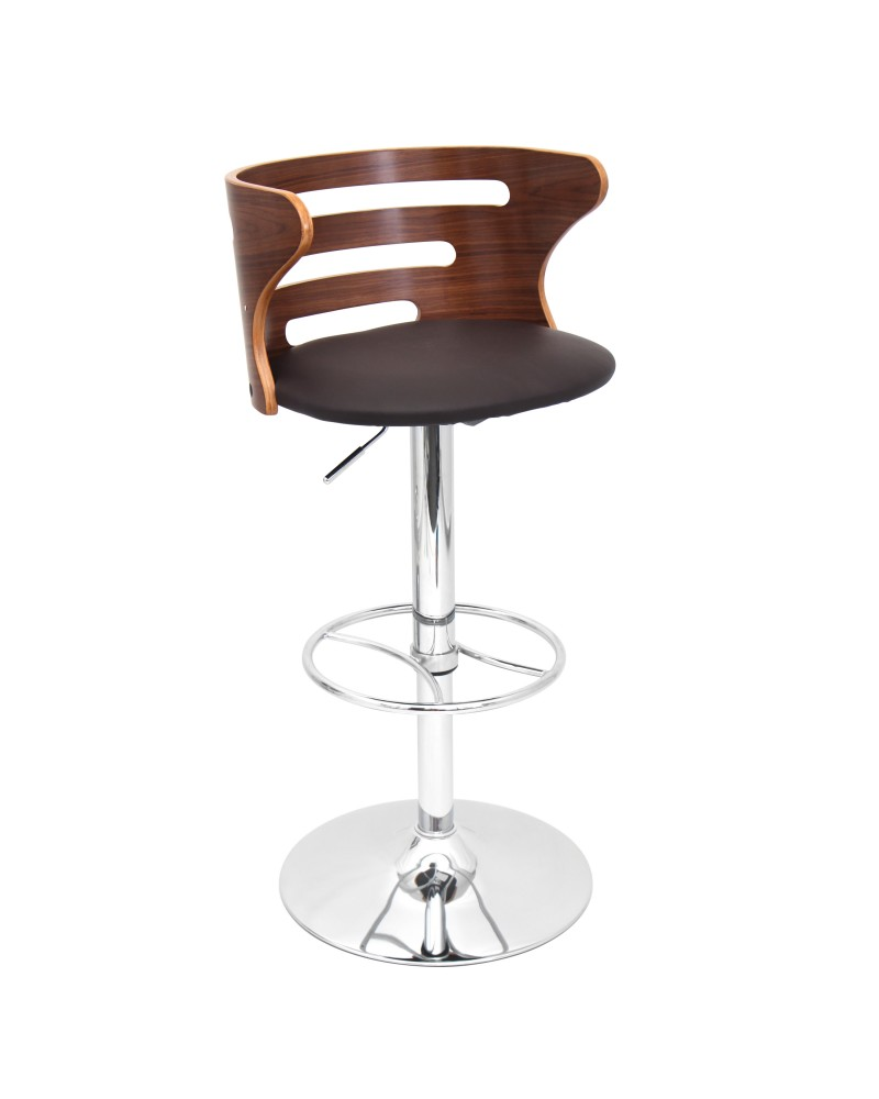 Cosi Mid-Century Modern Adjustable Barstool with Swivel in Walnut and Brown Faux Leather