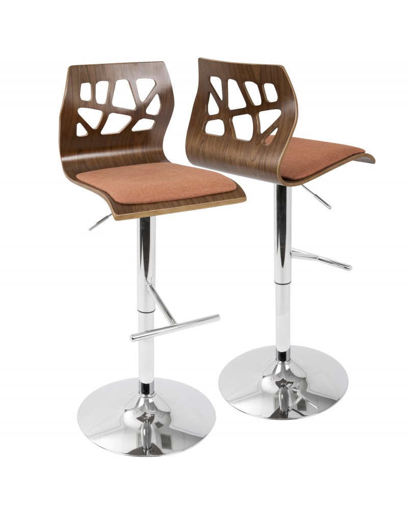 Folia Mid-Century Modern Adjustable Barstool with Swivel in Walnut And Orange Fabric