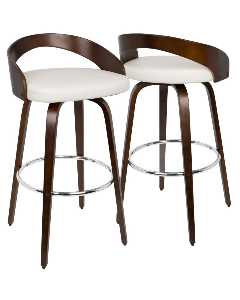 Grotto Mid-Century Modern Barstool with Swivel in Cherry with White Faux Leather