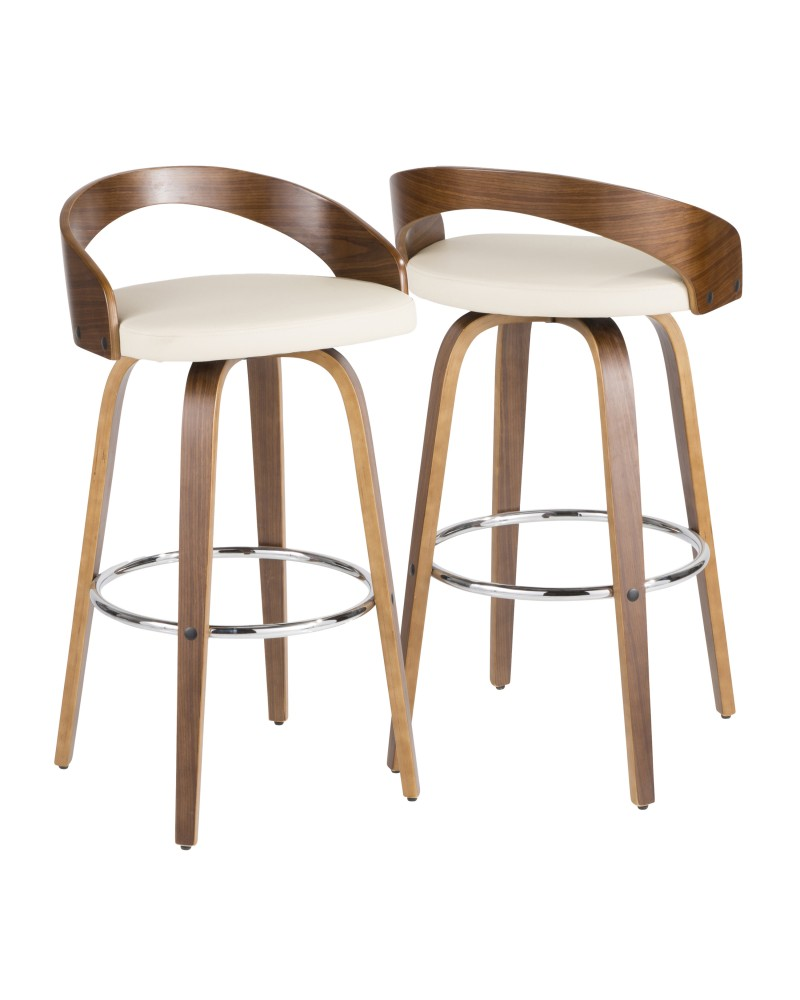 Grotto Mid-Century Modern Barstool in Walnut and Cream Faux Leather