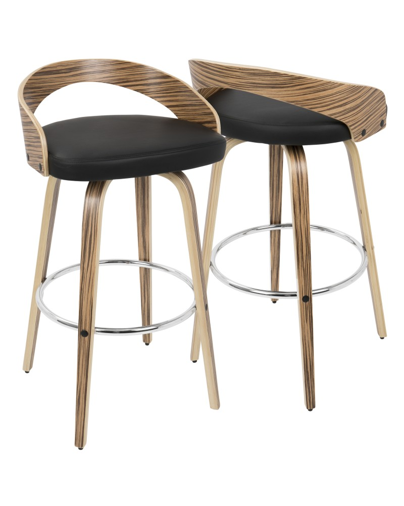 Grotto Mid-Century Modern Barstool with Swivel in Zebra Wood with Black Faux Leather