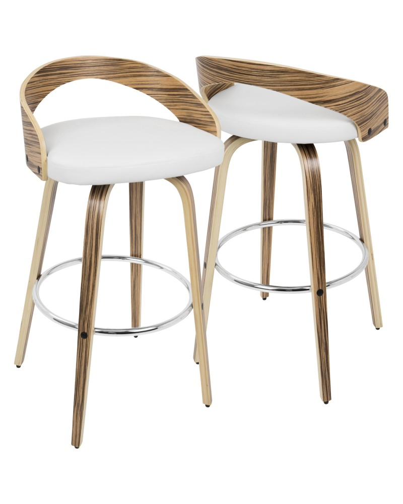 Grotto Mid-Century Modern Barstool with Swivel in Zebra Wood with White Faux Leather