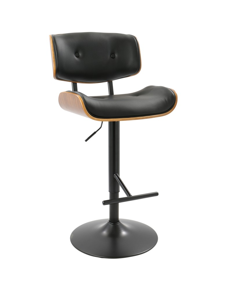 Lombardi Mid-Century Modern Adjustable Barstool in Walnut with Black Faux Leather