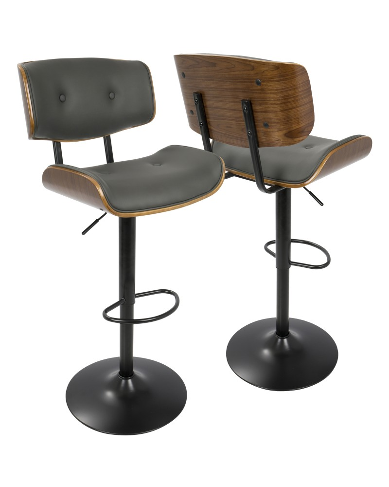 Lombardi Mid-Century Modern Adjustable Barstool in Walnut with Grey Faux Leather