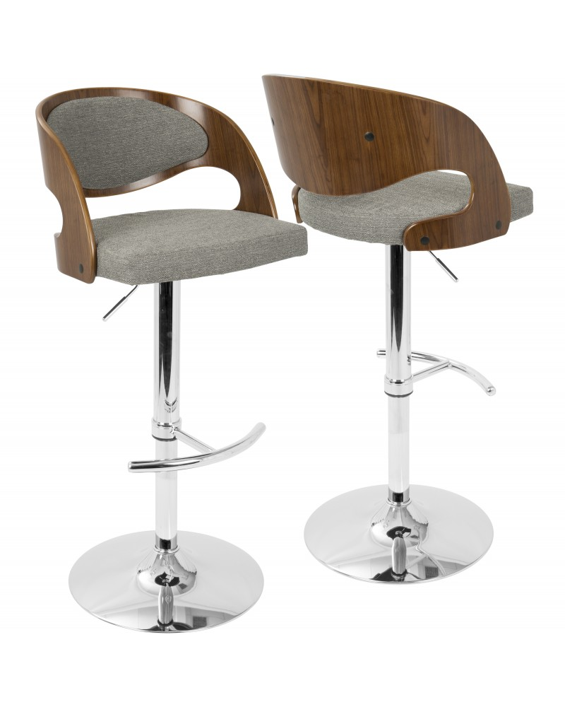Pino Mid-Century Modern Adjustable Barstool with Swivel in Walnut and Grey Fabric