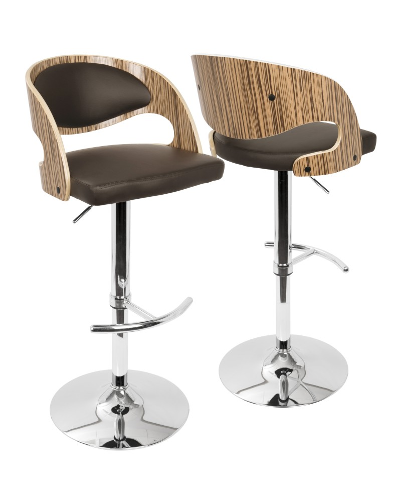 Pino Mid-Century Modern Adjustable Barstool with Swivel in Zebra and Brown Faux Leather