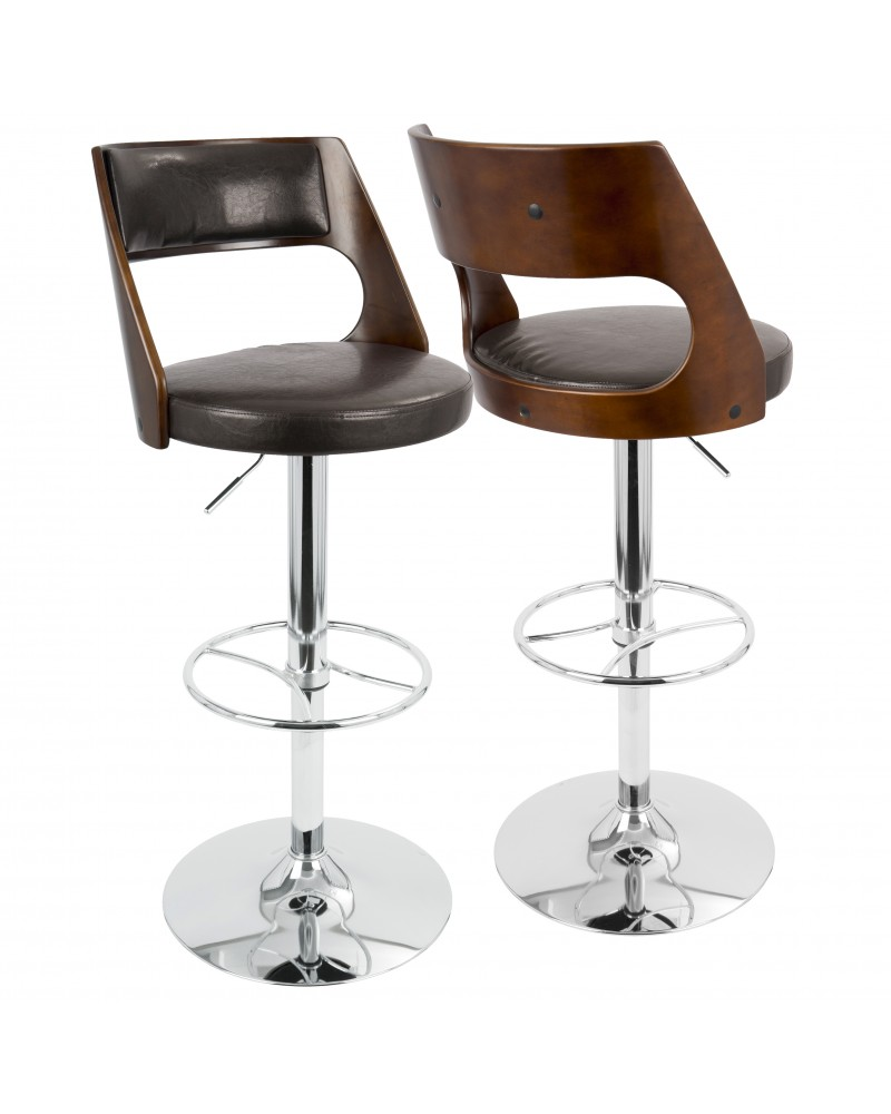Presta Mid-Century Modern Adjustable Barstool with Swivel in Cherry and Brown Faux Leather