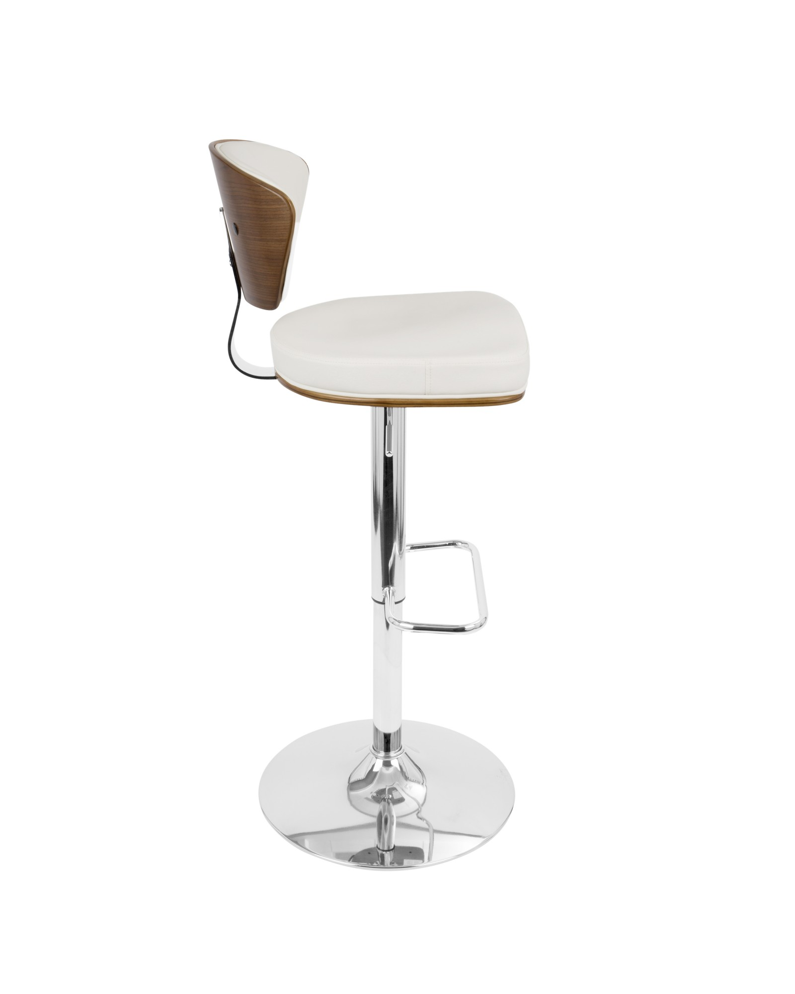 Ravinia Mid-Century Modern Adjustable Barstool with Swivel in Walnut and White Faux Leather