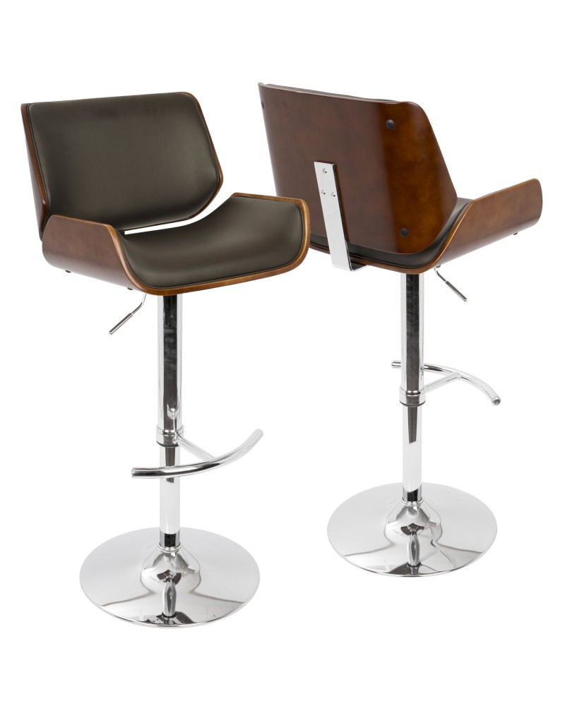 Santi Mid-Century Modern Adjustable Barstool with Swivel in Cherry and Brown Faux Leather