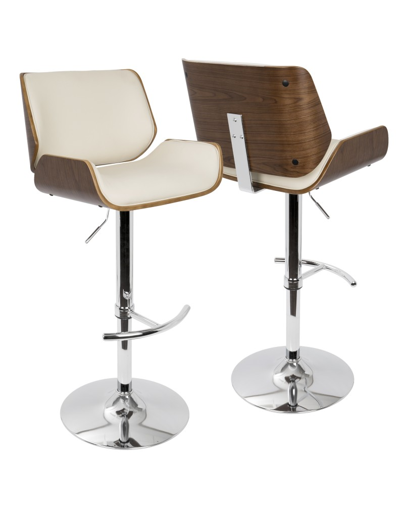 Santi Mid-Century Modern Adjustable Barstool with Swivel in Walnut and Cream Faux Leather