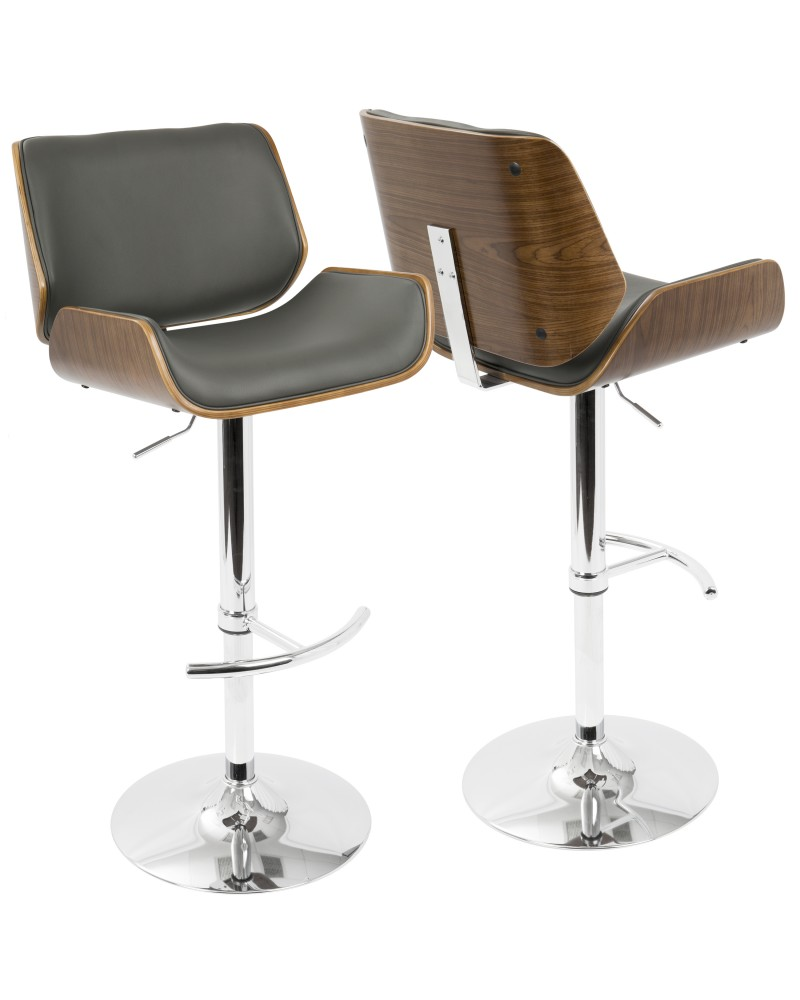 Santi Mid-Century Modern Adjustable Barstool with Swivel in Walnut and Grey Faux Leather