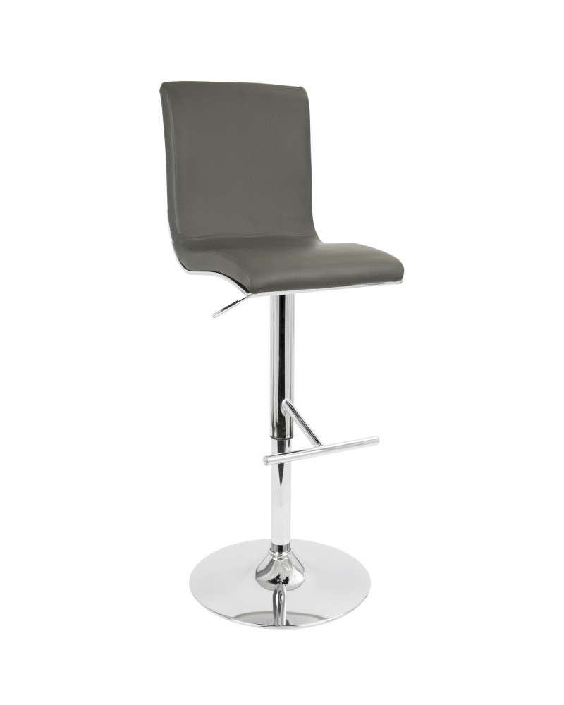 Spago Contemporary Adjustable Barstool with Swivel in Grey Faux Leather