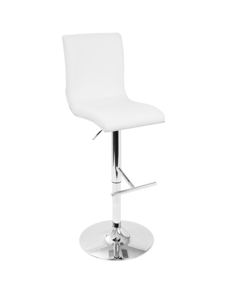 Spago Contemporary Adjustable Barstool with Swivel in White Faux Leather