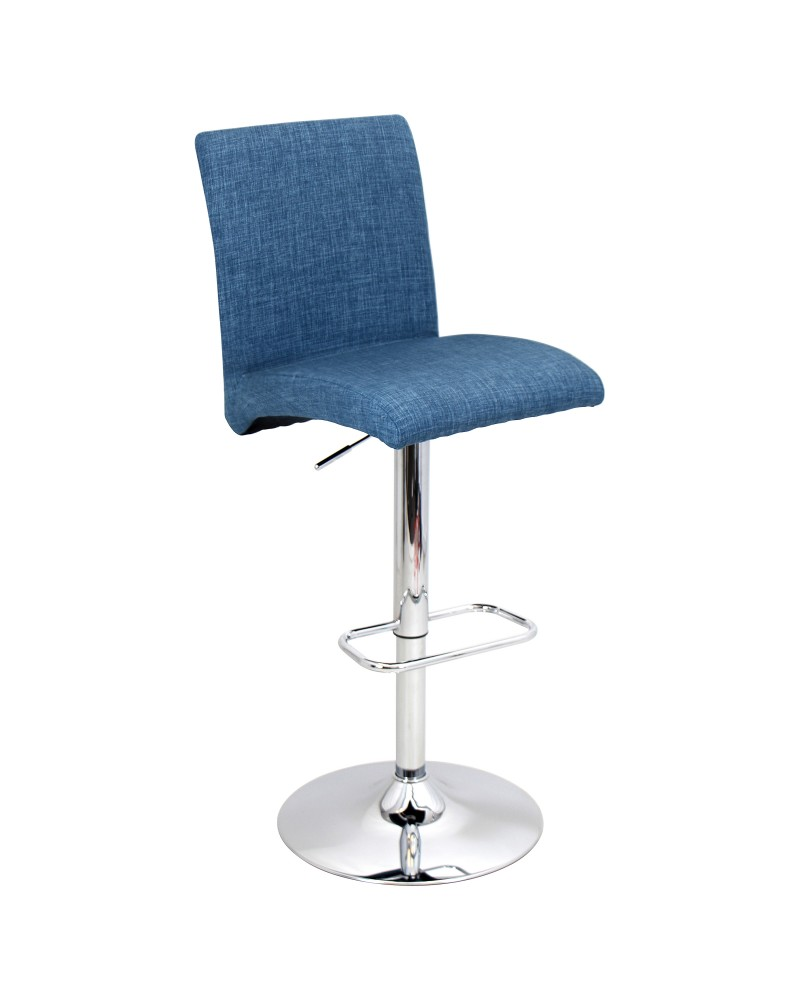 Tintori Contemporary Adjustable Barstool with Swivel in Blue