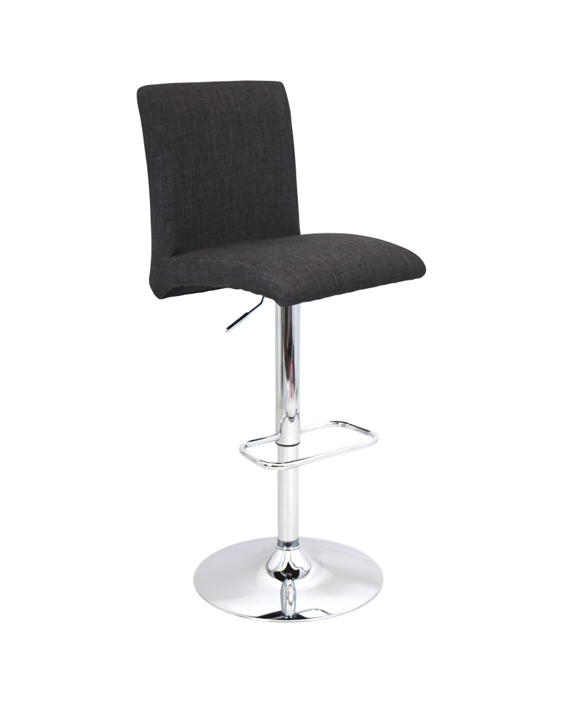 Tintori Contemporary Adjustable Barstool with Swivel in Charcoal