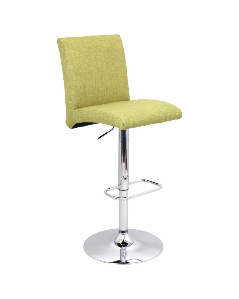 Tintori Contemporary Adjustable Barstool with Swivel in Green