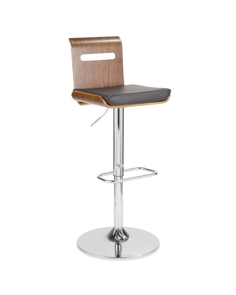 Viera Mid-Century Modern Adjustable Barstool with Swivel in Walnut and Black Faux Leather
