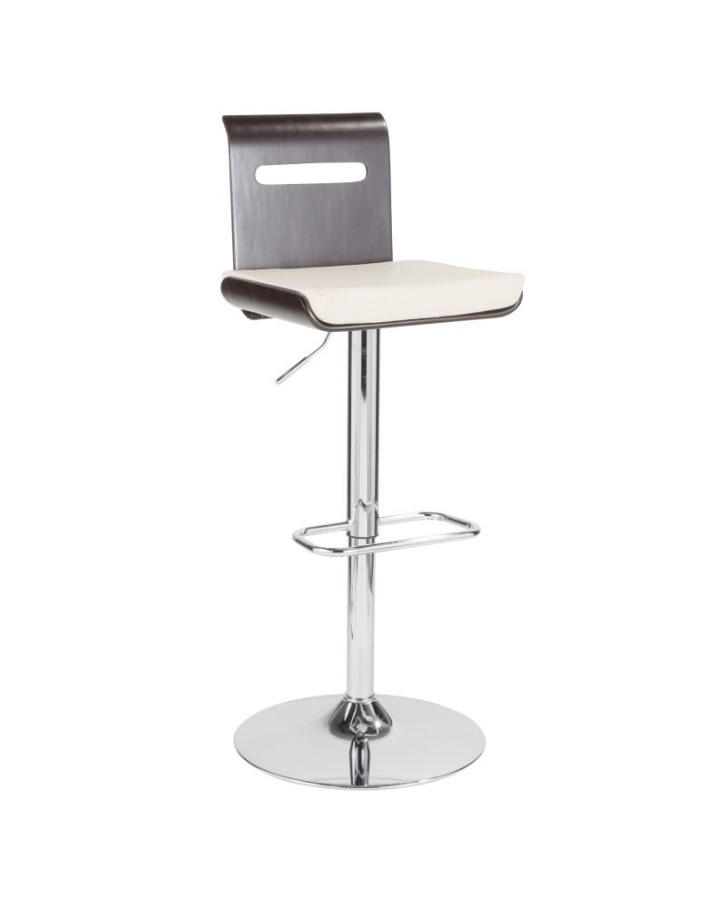 Viera Mid-Century Modern Adjustable Barstool with Swivel in Wenge and White Faux Leather