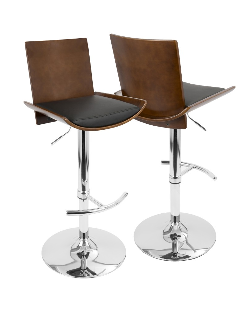 Vittorio Mid-Century Modern Adjustable Barstool with Swivel in Cherry and Black Faux Leather