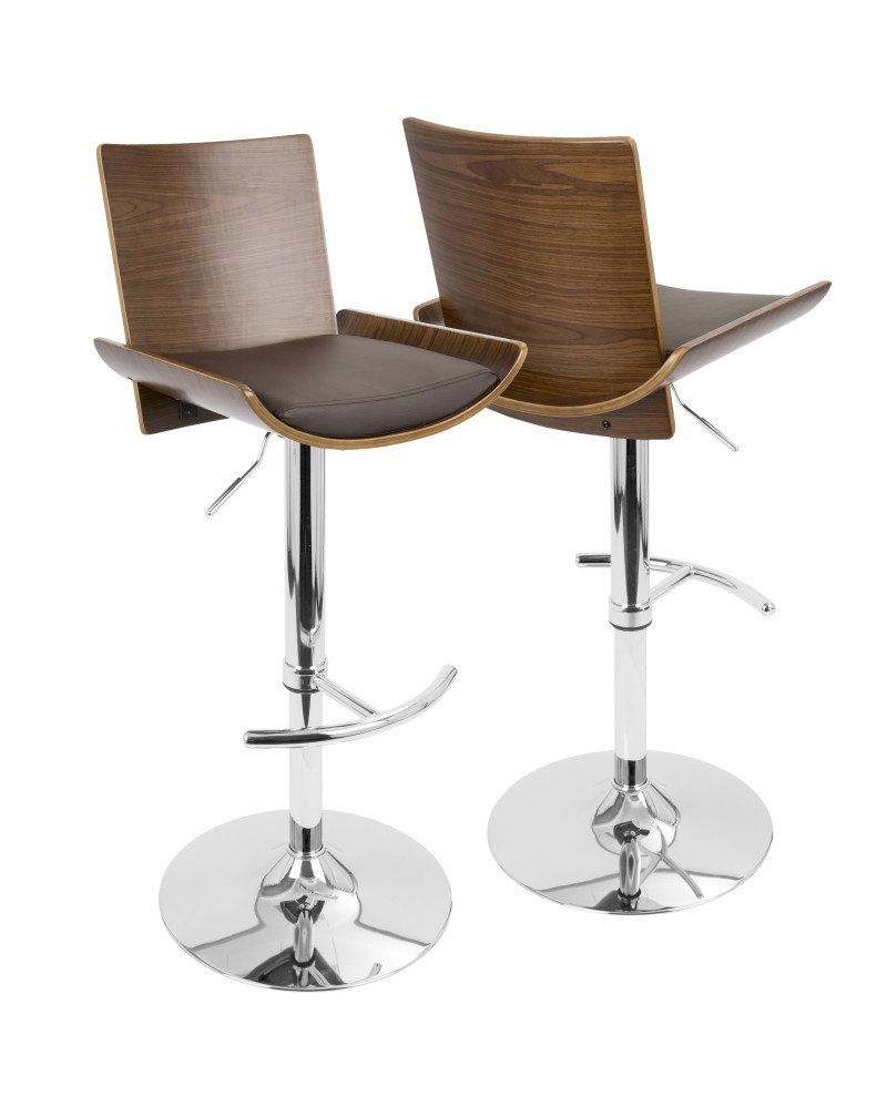Vittorio Mid-Century Modern Adjustable Barstool with Swivel in Walnut and Brown Faux Leather
