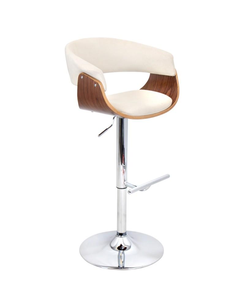 Vintage Mod Mid-Century Modern Adjustable Barstool with Swivel in Walnut and Cream Fabric