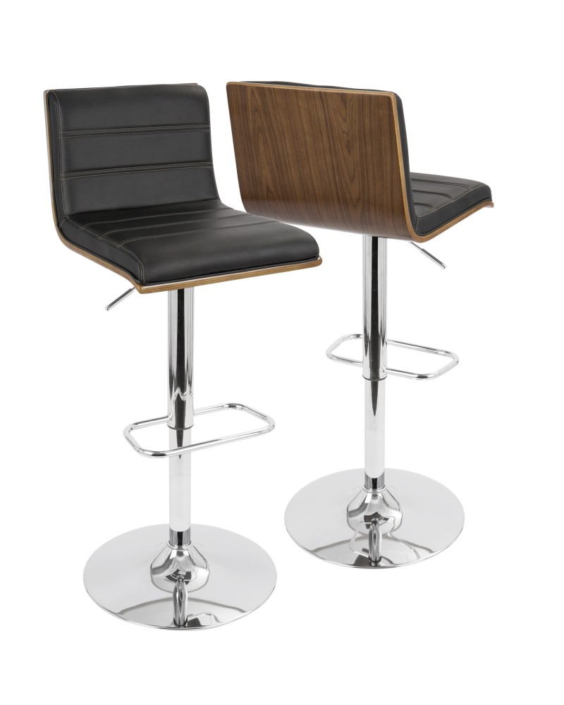 Vasari Mid-Century Modern Adjustable Barstool with Swivel in Walnut and Black Faux Leather