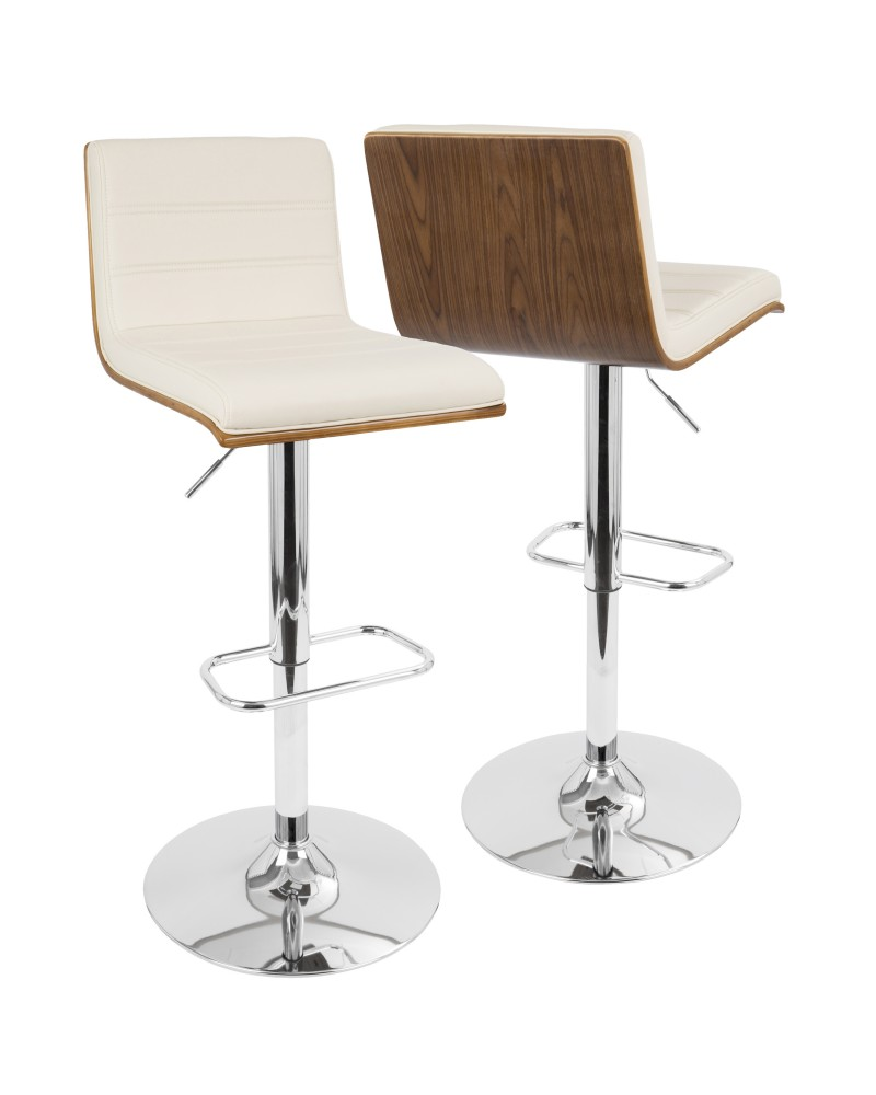 Vasari Mid-Century Modern Adjustable Barstool with Swivel in Walnut and Cream Faux Leather