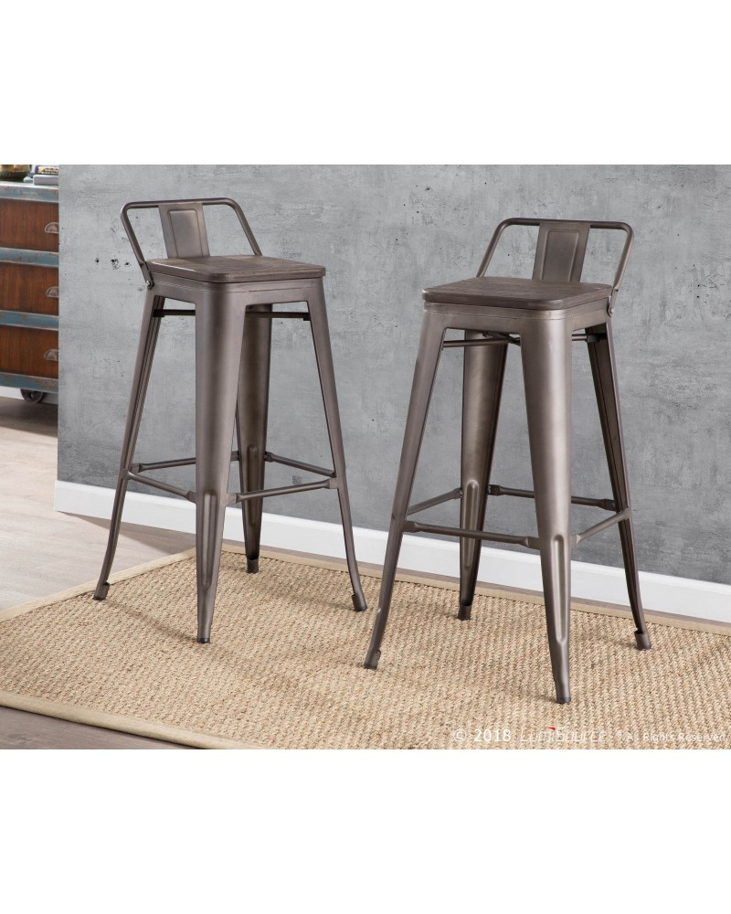 Oregon Industrial Low Back Barstool in Antique and Espresso - Set of 2